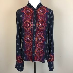 NWT Free People Paisley Blouse Tie Neck Ruffle
